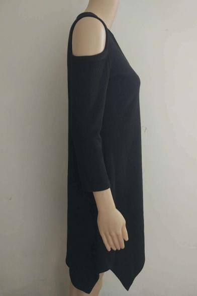 Women's Fashion V-Neck Cold Shoulder High Low Hem Plain Dress