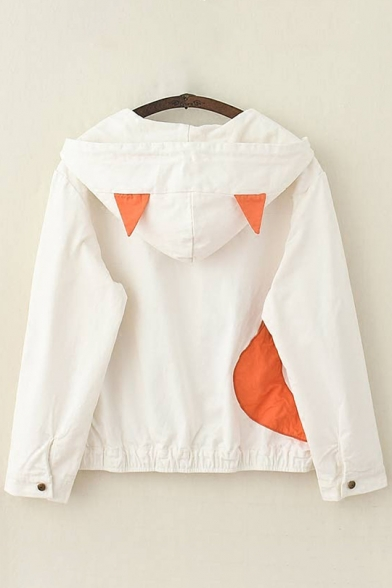 Adorable Fox Letter Embroidered Single Breasted Drawstring Ears Hooded Jacket