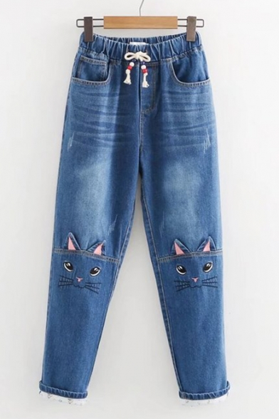 Chic Drawstring Waist Pocket Side Cat Embroidered Turn-up Ankle Jeans