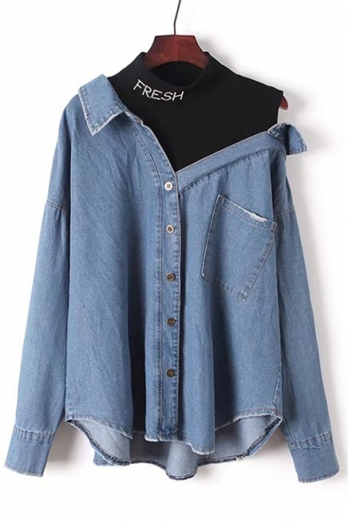 Fake Two Pieces Letter Printed Round Neck Hollow Out Shoulder Long Sleeve Buttons Down Denim Shirt