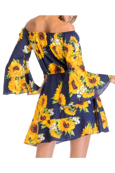 Fancy Chic Floral Print Off the Shoulder Bow Belted Hollow Out Mini A-line Dress