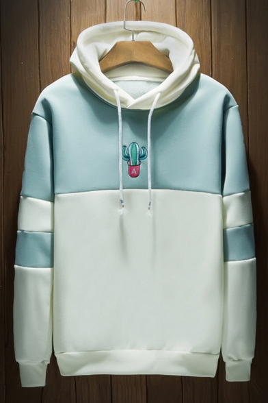 Fashion Color Block Cactus Embroidered Long Sleeve Leisure Hoodie