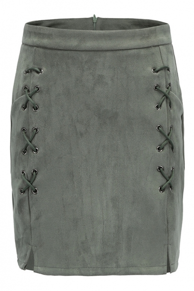 Fashion Suede Plain Lace Up Embellished Mini A-Line Skirt