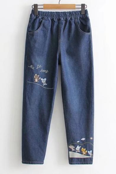 Fashionable Cartoon Animal Letter Embroidery Elastic Waist Pocket Detail Jeans