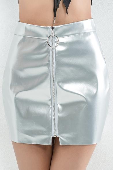 Hot Popular PU Zipper Fly Plain Mini A-Line Skirt