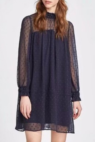 Hot Style High Neck See Through Long Sleeve Polka Dotted Shift Mini Patchwork Dress