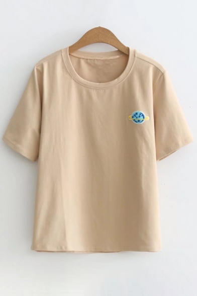 Sleeve Tee Small Short Planet Round Embroidered Leisure Neck qYFax