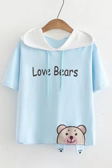Ear Lovely Drawstring Color Hooded Print Bear Letter Block Tee Summer wTwBXA