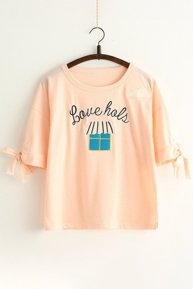 Round Bow Embroidered Short Letter Cartoon Tied Window Neck Lovely Detail Tee Sleeve Cuff WCtY8qWw