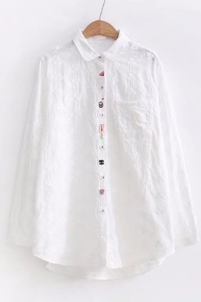 Shirt Buttons Down Sleeve Floral Embroidered Collar Long New Stylish Lapel vgxz6