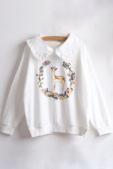 Sleeve Sweatshirt Pan Peter Printed Collar Pullover Leisure Floral Deer Long YnwZRgq