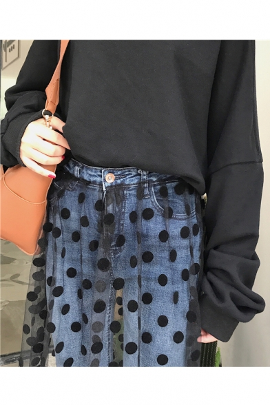 Polka Dot Printed Mesh Patchwork High Waist Straight Crop Jeans