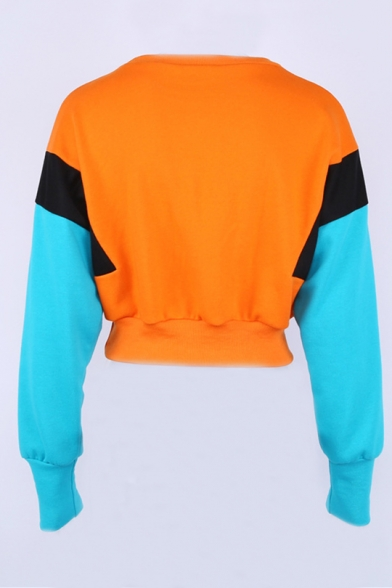 Popular Cropped Long Pullover Sweatshirt Color Neck Block Round Sleeves HH7PZ6OU