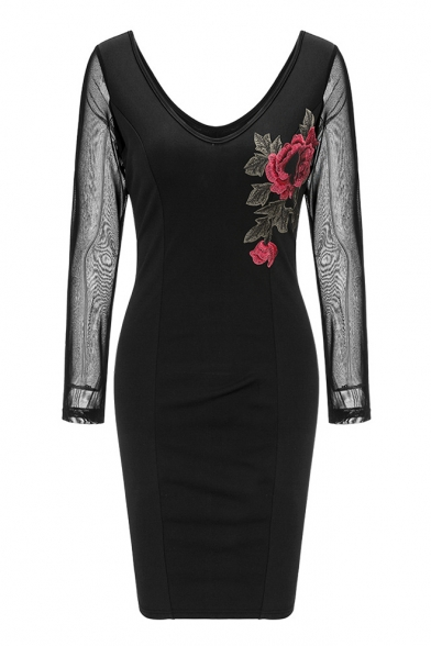 Mesh Bodycon Embroidered Floral Dress V Neck Sheer Long Sleeve Midi 8BdUIn4qn