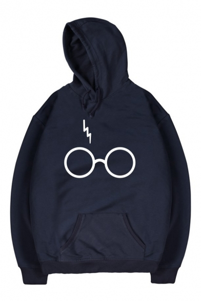 Simple Hoodie Long Sleeves Eyeglasses Pattern Pullover Lightning with Pocket wSRq7Orwx
