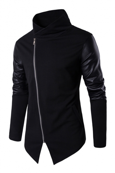 Simple PU Patchwork Long Sleeve Stand Up Collar Zip Up Notched Hem Sweatshirt