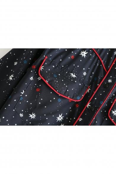 Stylish Star Galaxy Print Button Front Flap Pocket Mini Shirt Dress