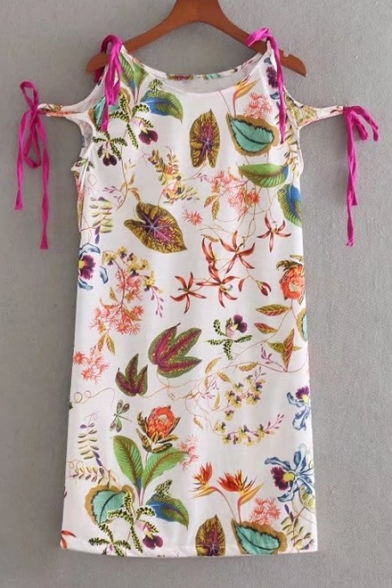 Summer Collection Tie Side Round Neck Floral Plant Leaf Print Mini Shift Dress