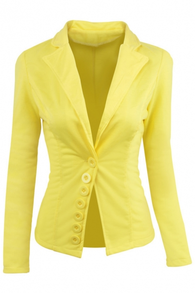 Trendy Button Embellished Long Sleeve Notched Lapel Slim Fit Plain Blazer
