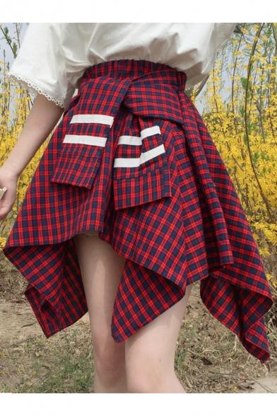 41bddc61fe Trendy Checked Plaids Pattern Tie Front Asymmetrical Hem High Waist Skirt  ...