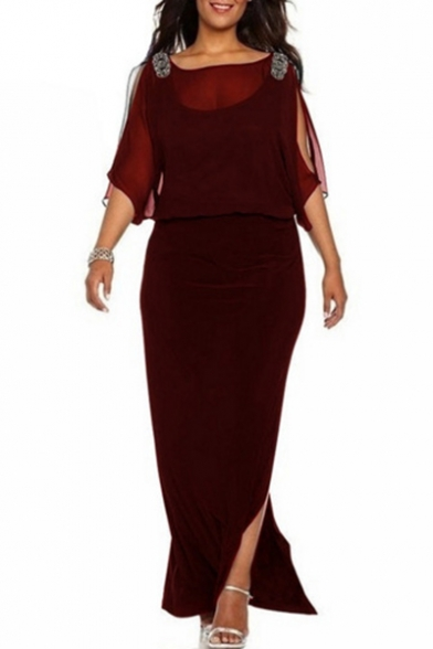 Trendy Plain Split Sleeve Slit Side Boat Neck Layered Maxi Pencil Dress