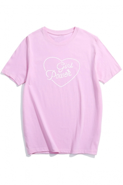 Sleeve Printed Graphic Basic Heart Tee Short Neck Round Letter YqWBwxgO