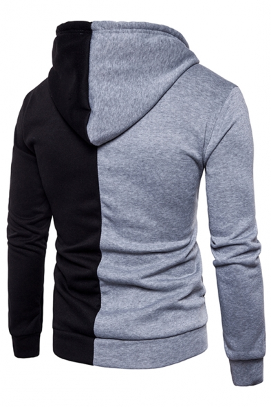Basic Simple Color Block Zip Up Long Sleeve Hoodie with Pockets