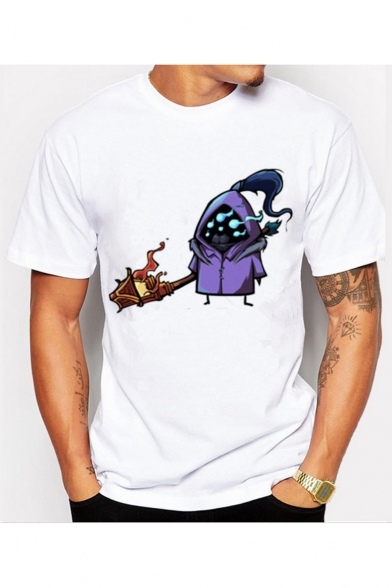 Short Neck Crew Tee Slim Game Cartoon Character Sleeve Printed qXFgfa