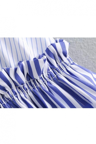 Color Striped V Bow Sleeveless Chic Printed Detail Blouse Neck Block dUOEqS