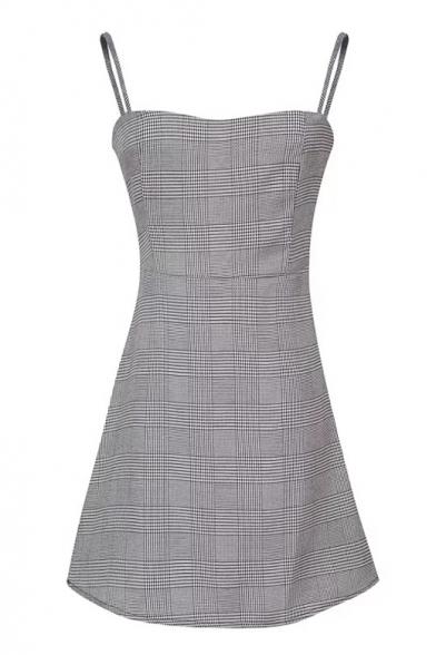 Classic Plaid Printed Spaghetti Straps Sleeveless Mini A-Line Dress
