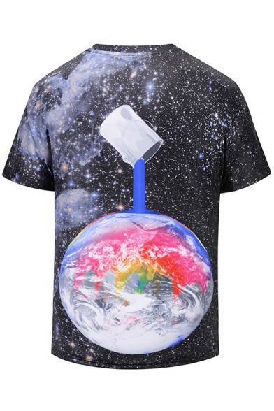 Printed Earth Round Short Sleeve Digital Oversize Tee Neck 1vq5WqwB4