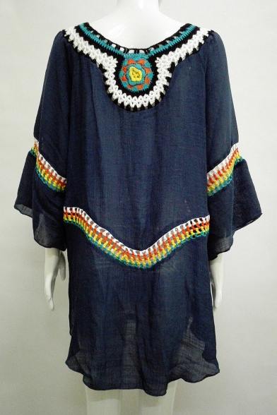 Ethnic Style Tribal Embroidered Wide Sleeve Boat Neck Swing Mini Dress