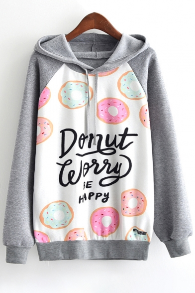 Hoodie Fancy Block Letter Doughnut Long Print Pullover Sleeves Color w8Aqfwa