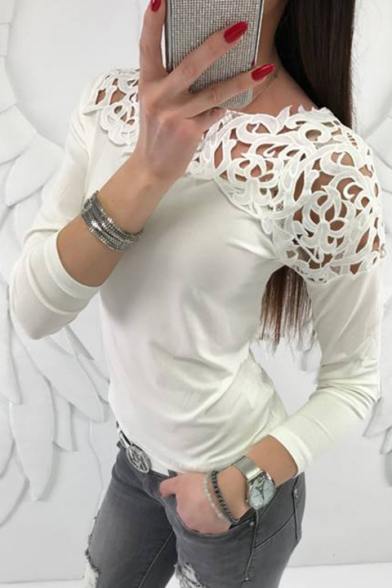 Fancy Lace Insert Hollow Out Long Sleeve Slim Fit Spring Women's Tee