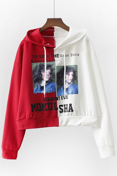 Print Sleeves Letter Cropped Long Pullover Fashionable Character Block Hoodie Color 6fWEY
