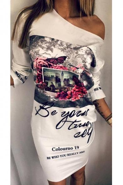 Fashionable Floral Butterfly Letter Landscape Print One Shoulder Mini Dress