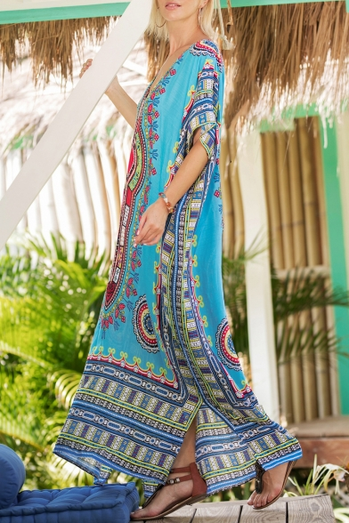V Loose Side Printed Split Leisure Shift Folk Neck Dress Half Style Sleeve Maxi q5SwxnpzE0