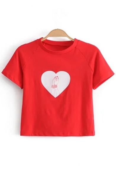 Short Printed Sleeve Cropped Round Heart Neck Hand Tee gfwHPqy