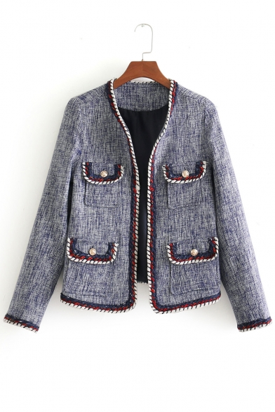 Flap pockets open ladylike cropped front multiple coat - Div display block ...