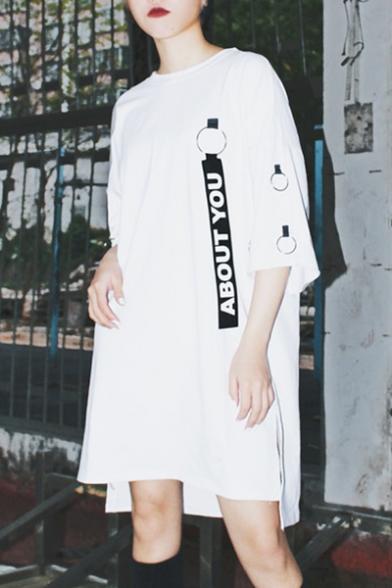 Letter Printed Strap Embellished Half Sleeve Round Neck Midi T-Shirt Dress