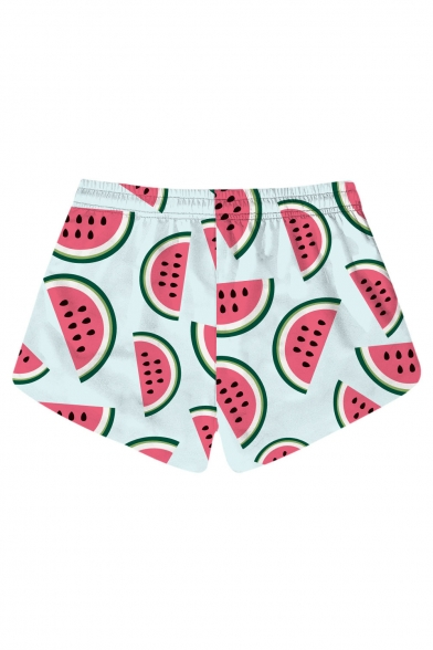 Lovely Cartoon Watermelon Printed Drawstring Waist Shorts with Pockets