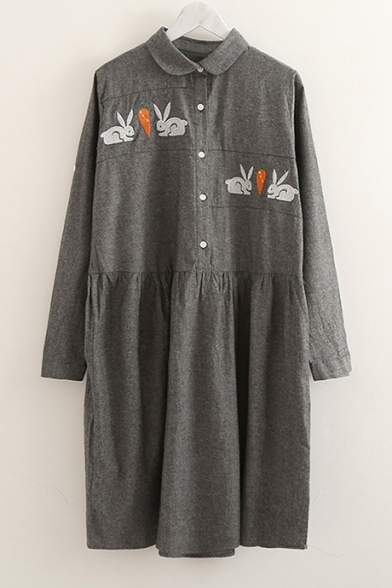 Sleeve Long Lapel Dress Carrot Detail Rabbit Popular Embroidered Button Smock Mini Y0pqgaw