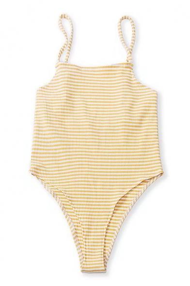 Retro One-Piece Striped Printed Spaghetti Strap Sleeveless Open Back Threaded Swimwear