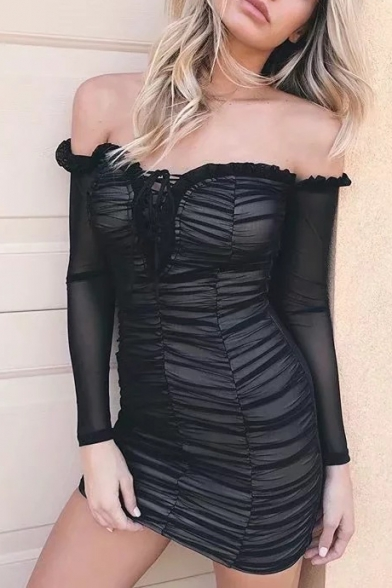 Sexy Off The Shoulder Lace Up Front Ruched Detail Long Sleeve Mini