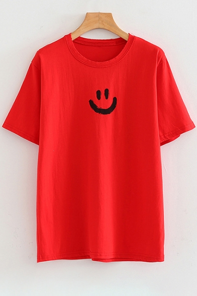 Neck Tee Face Letter Sleeve Back Round Smile Short Printed FTwC4