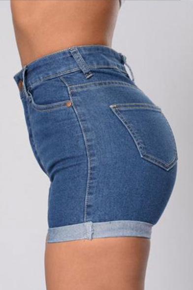 Summer Collection High Waist Zipper Fly Turn Up Skinny Denim Shorts