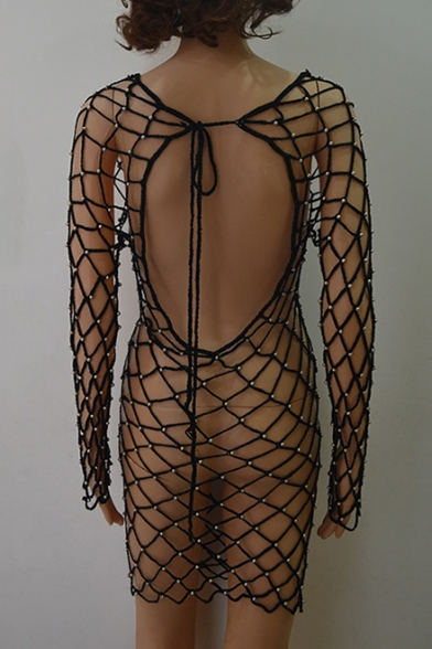 Up Neck Mesh Hollow Scoop Net Collection Back Out Summer Cover Beaded qE4OFwEv