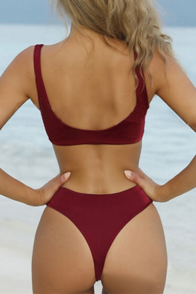 Summer Fashion Bow Tie Front Simple Plain High Waist Bikini