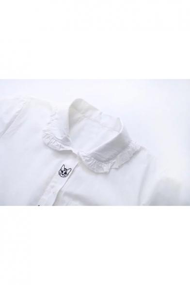 Top Sale Cat Cartoon Embroidered Peter Pan Collar Button Front Shirt