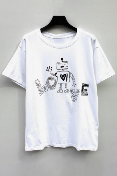 Adorable Robot Letter Print Round Neck Short Sleeves Casual Tee